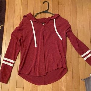 Soft red hooded shirt